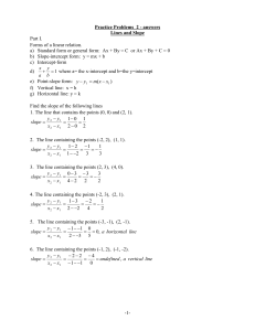 Answers- Lines and slope