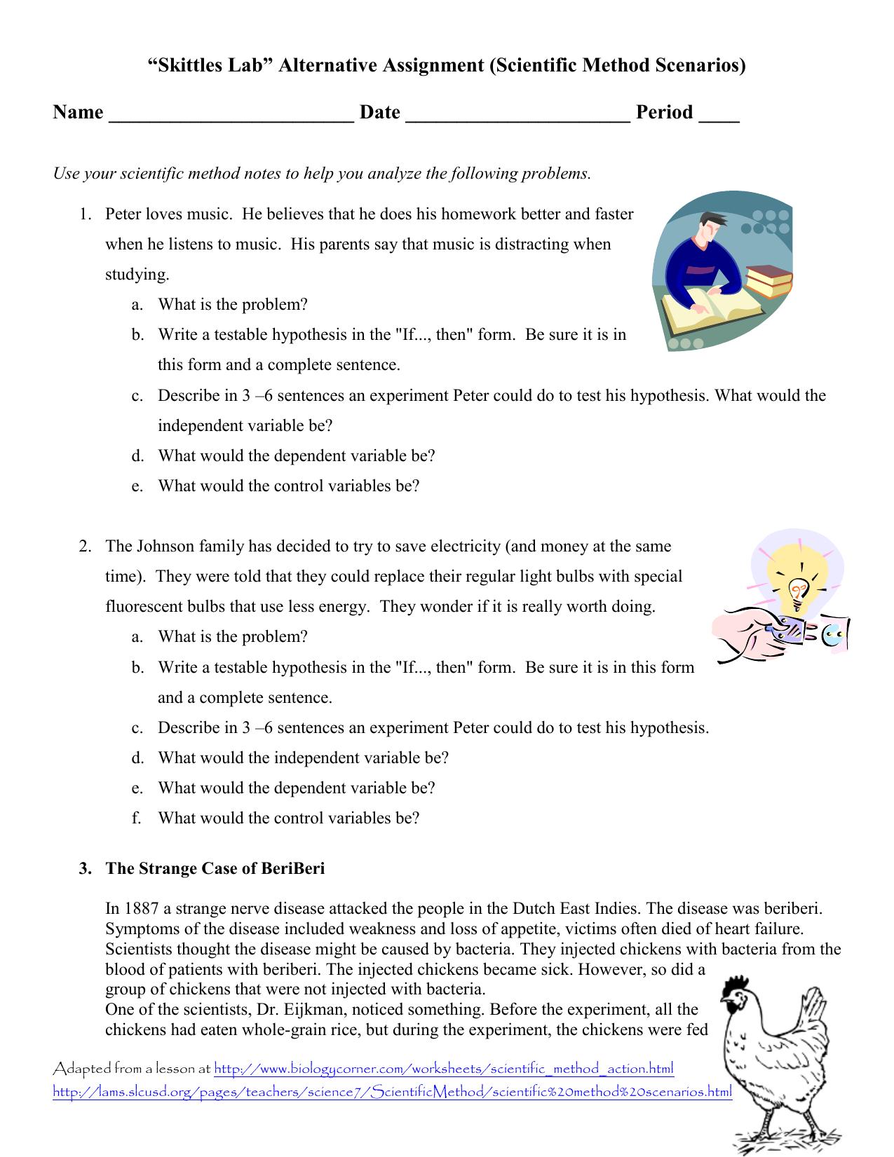 MS Scientific Method Scenarios