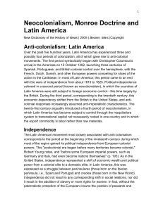 1 Neocolonialism, Monroe Doctrine and Latin America New