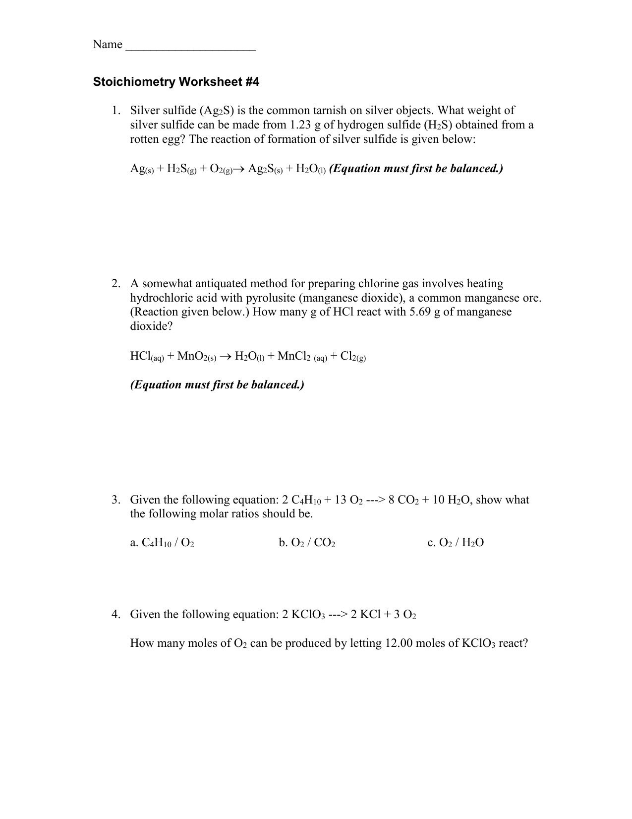 Stoichiometry Worksheet 4 – Gas Stoichiometry Worksheet