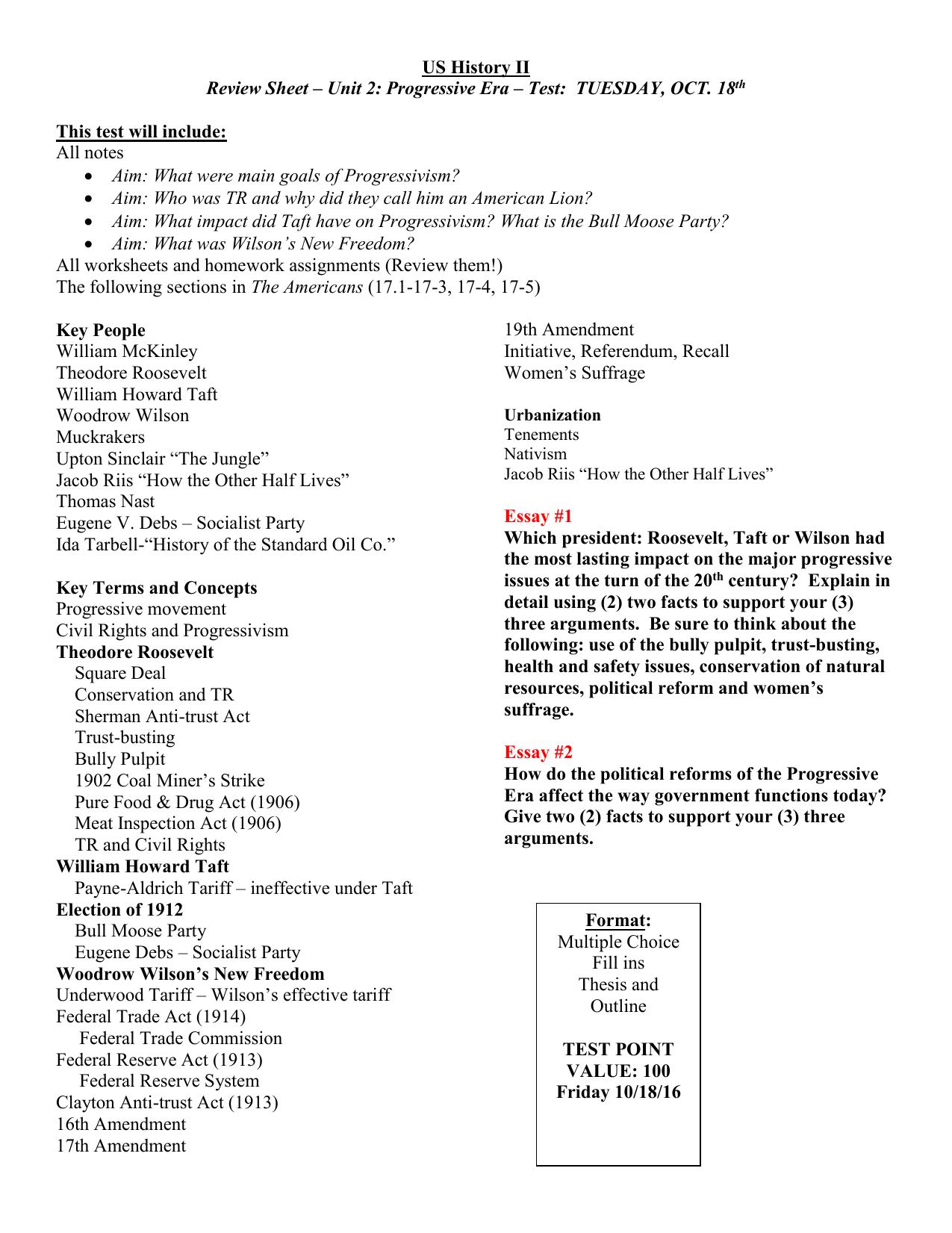 review sheet   progressives