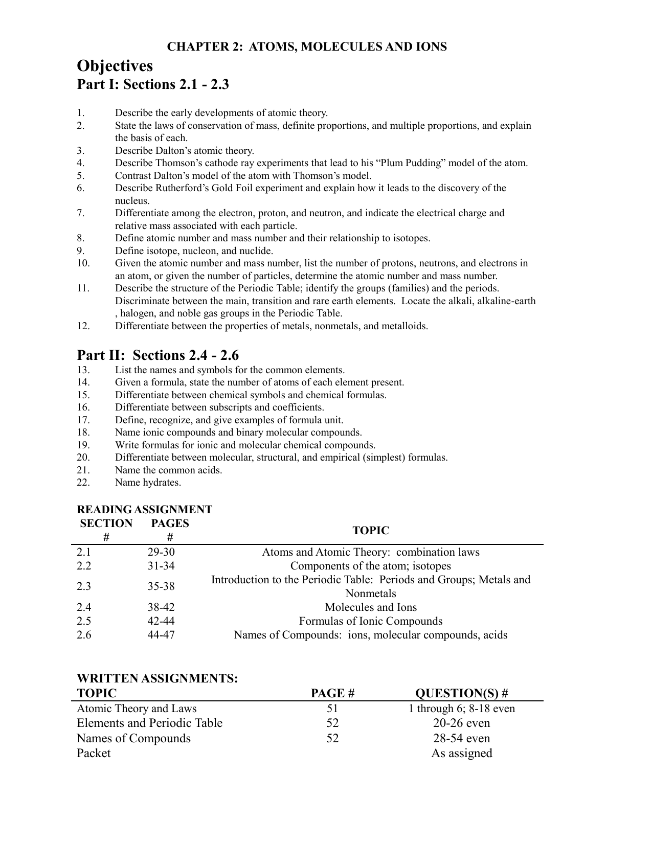 CH 2 Worksheet