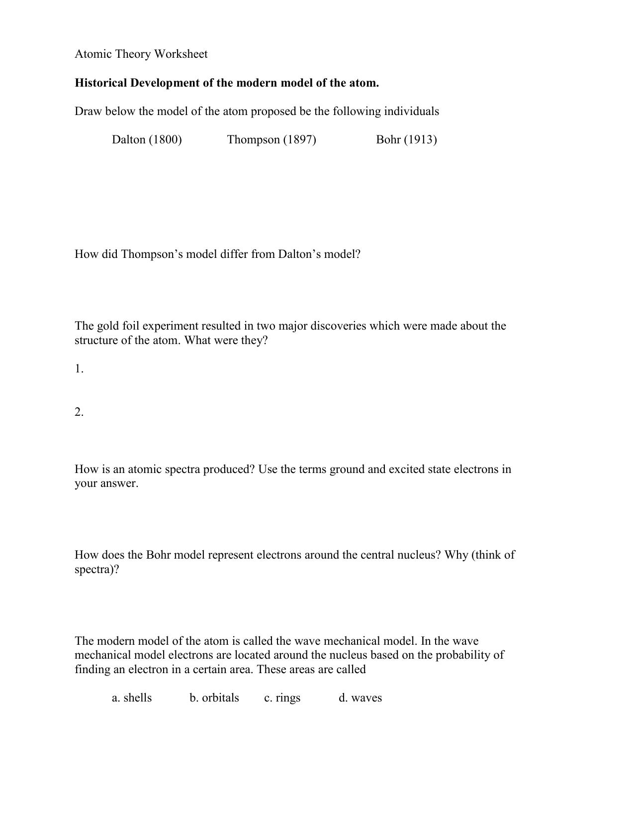 Atomic Theory Worksheet