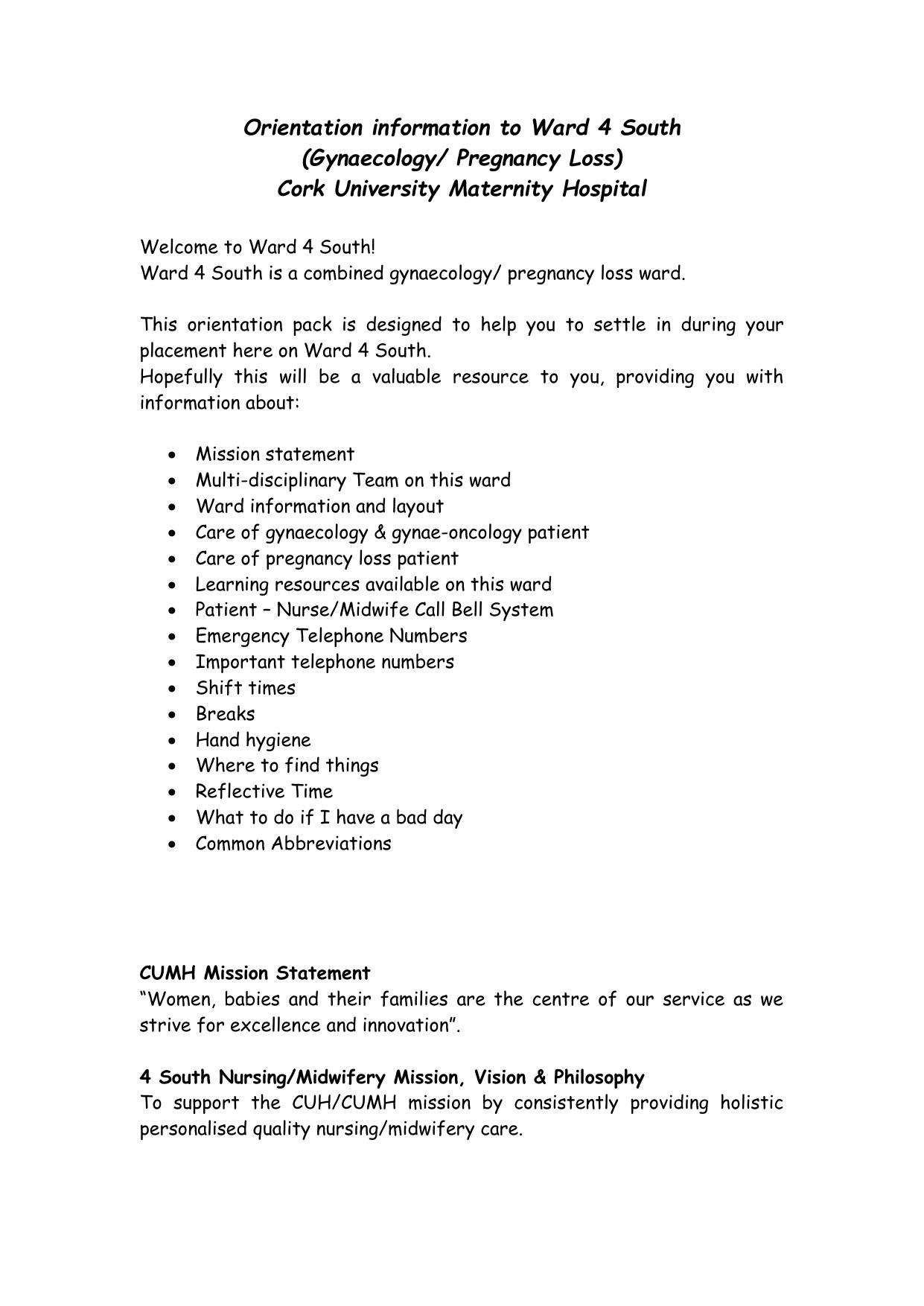 CUMH Ward 4 South Orientation Document 2014