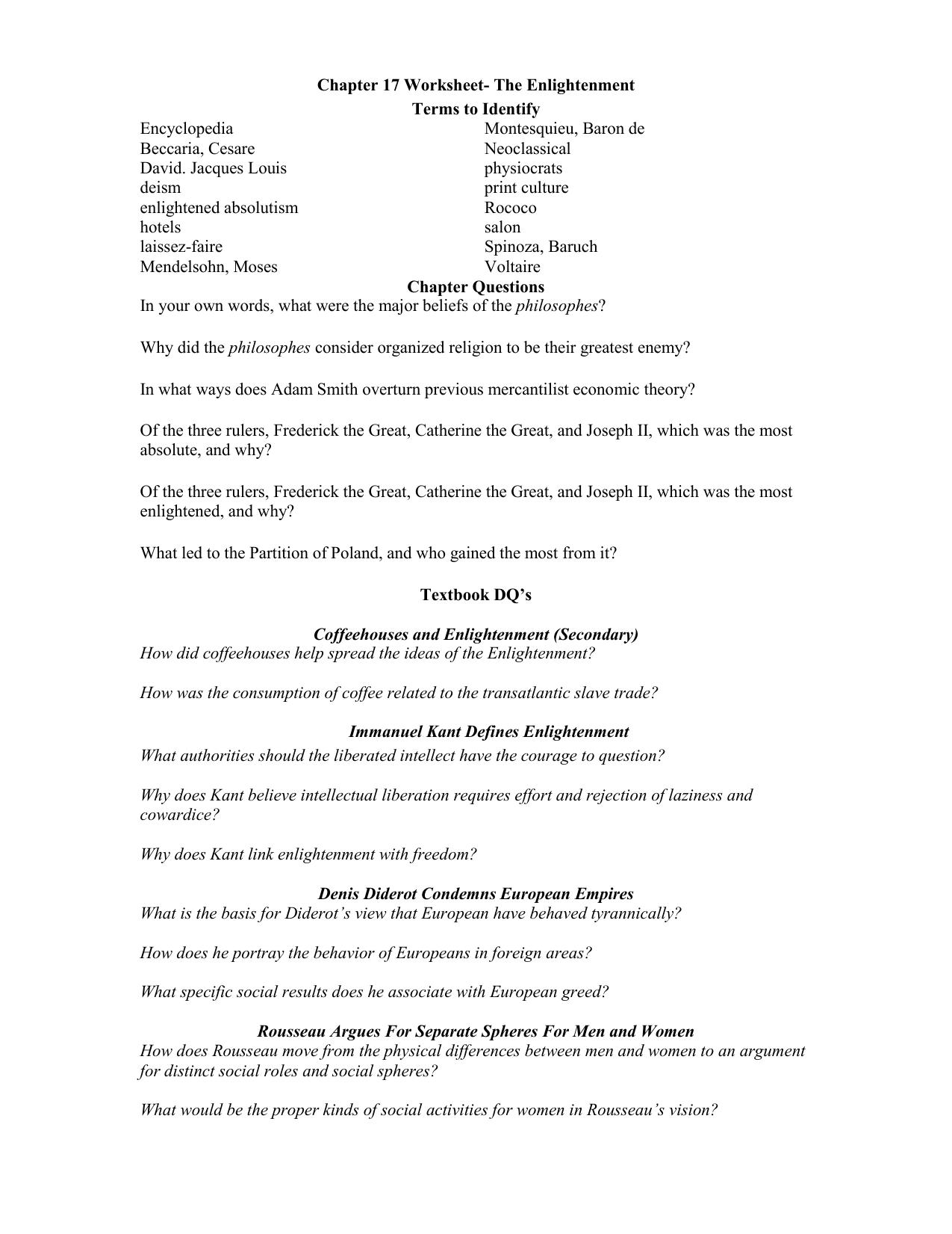 worksheet Enlightenment Worksheet chapter 17 worksheet the enlightenment apeh