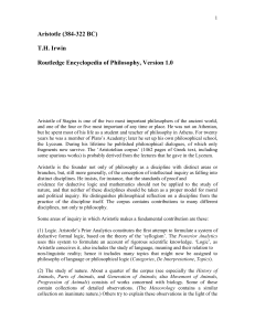 Irwin`s Routledge Encyclopedia article on Aristotle
