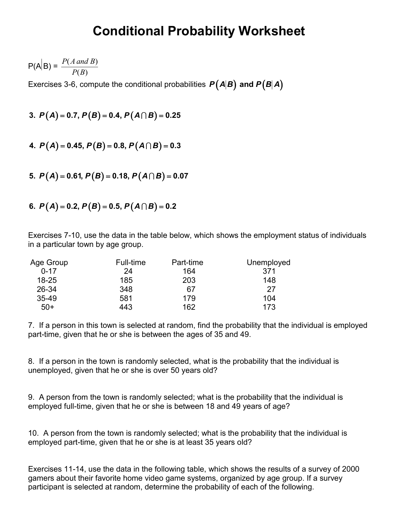 Conditional Probability Worksheet Worksheets For School - Leafsea