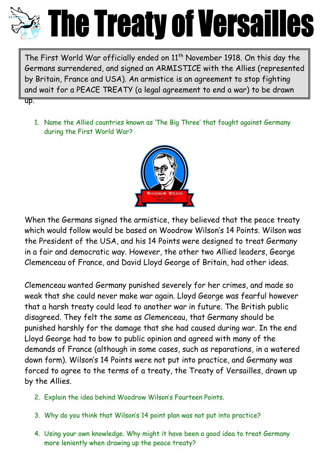 Worksheets Treaty Of Versailles Worksheet treaty of versailles worksheet
