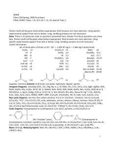 NAME Chem 204 Spring, 1990 Final Exam FINAL EXAM: Chaps. 1
