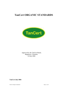 1.1 Scope of the TanCert Organic Standard
