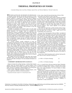 CHAPTER 29 THERMAL PROPERTIES OF FOODS Commodity Ref