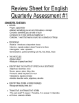 Review Sheet for English Quarterly Assessment #1