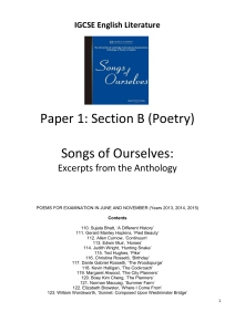 IGCSE English Literature Paper 1: Section B (Poetry) Songs of