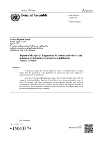 Report of the Special Rapporteur on torture and other