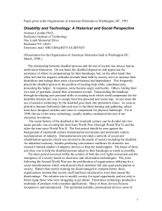 Disability and Technology: A Historical and Social Perspective