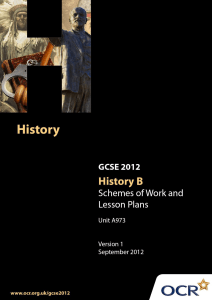 Historical enquiry - Sample scheme of work and lesson plan