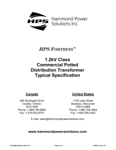 HPS Fortress 1.2kV Commercial Potted Distribution Transformer