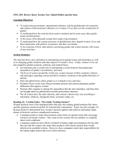 INST 205- Review Sheet- Section Ten: Global Politics and the State