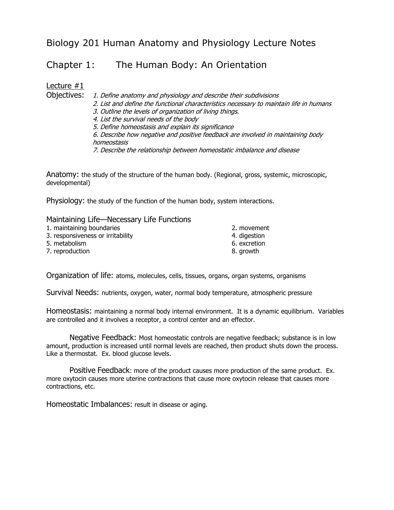 Biology 201 Human Anatomy And Physiology Lecture Notes