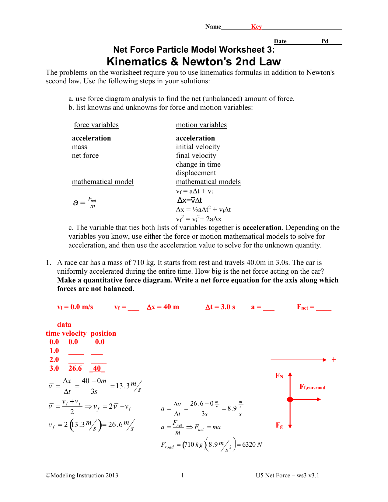 Kinematics and Newton`s 2nd Law Key