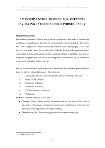 an intervention module for offences involving internet child