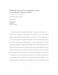 DEBATE: The Survival of Egalitarian Justice