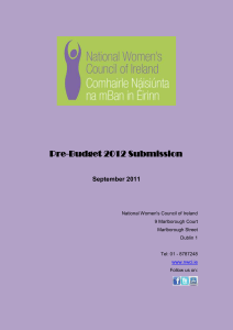 Pre-Budget Submission 2012 - The National Women`s Council of