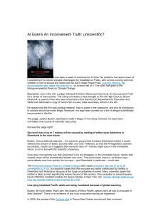 Al Gore`s An Inconvenient Truth: unscientific? It has been a week