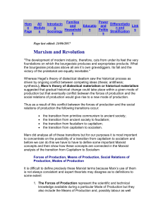 Marxism and Revolution - Earlham Sociology Pages