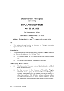 Statement of Principles concerning BIPOLAR DISORDER No. 25 of
