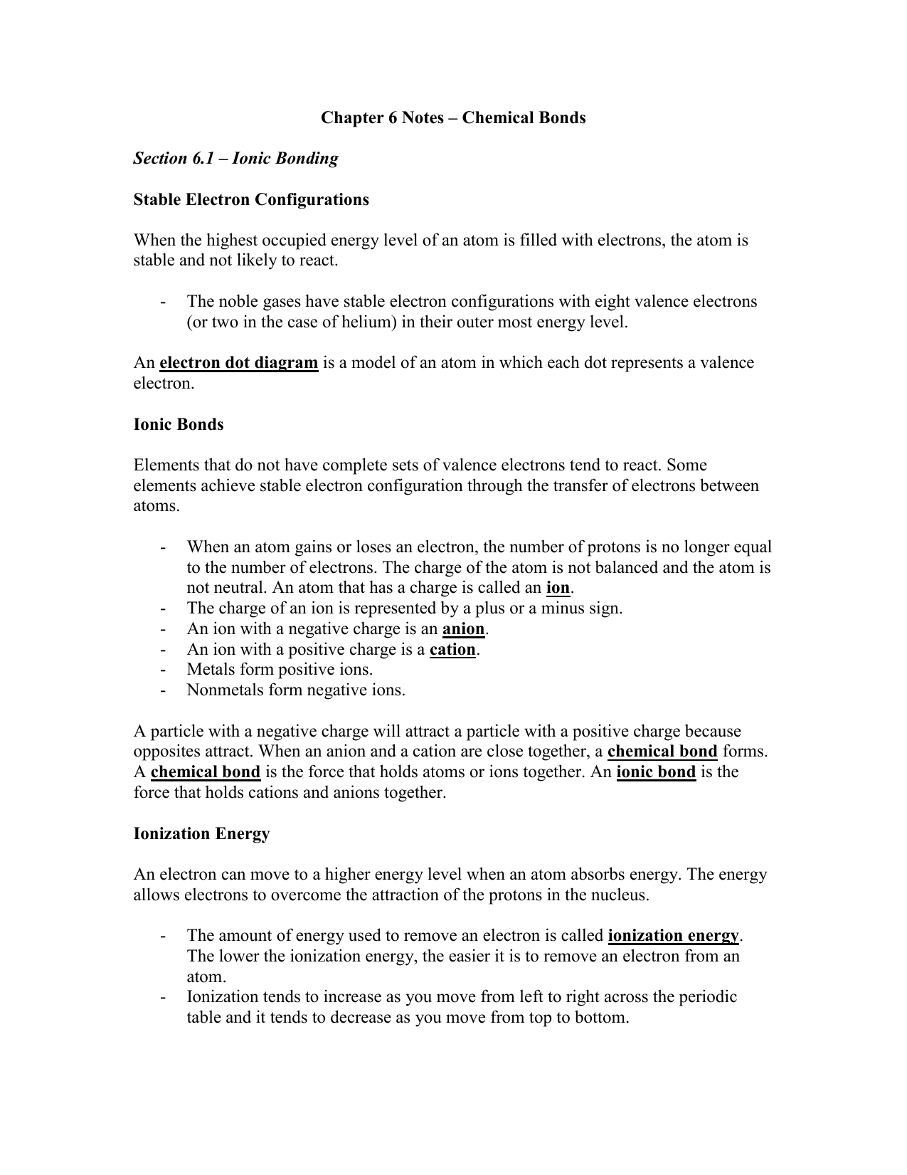 chapter 6 notes chemical bonds