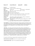 WIU Phys 125 - Syllabus - Western Illinois University