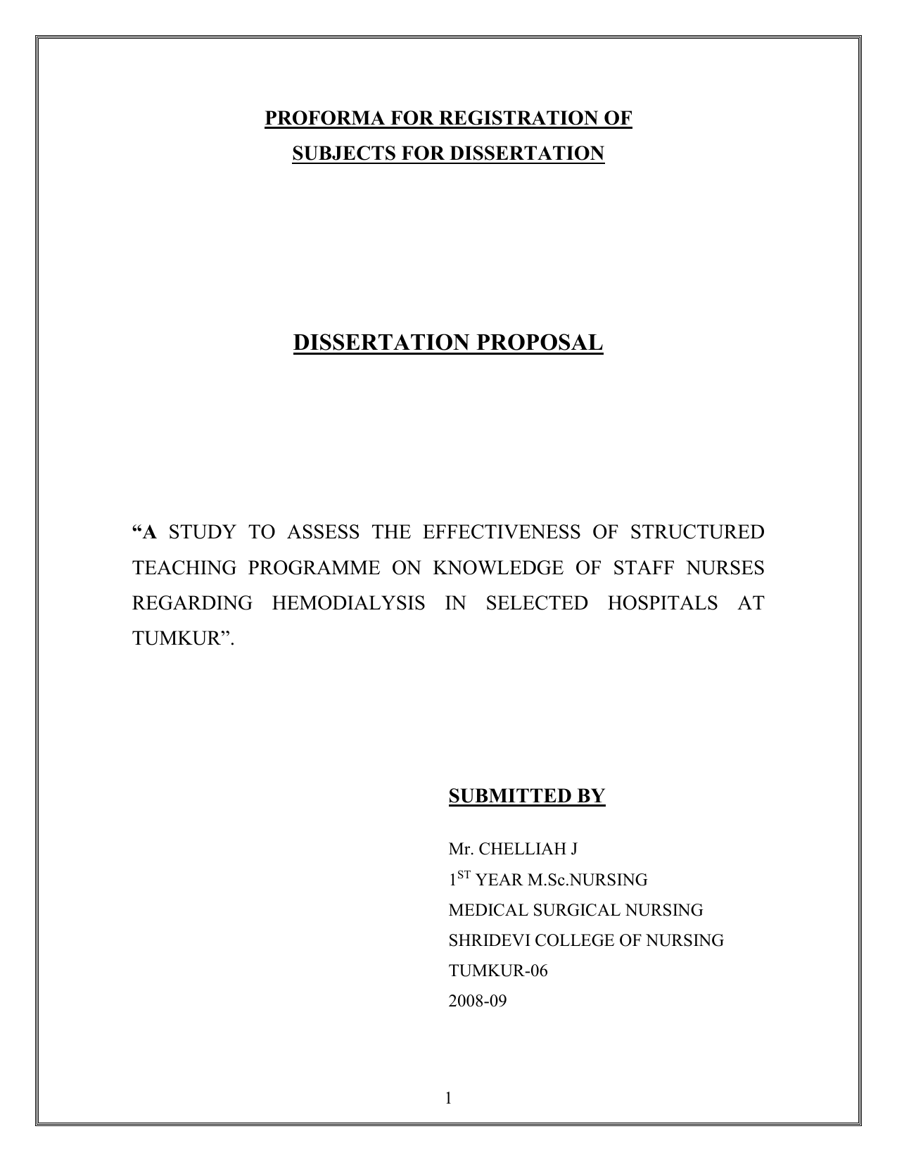 Proforma of phd thesis