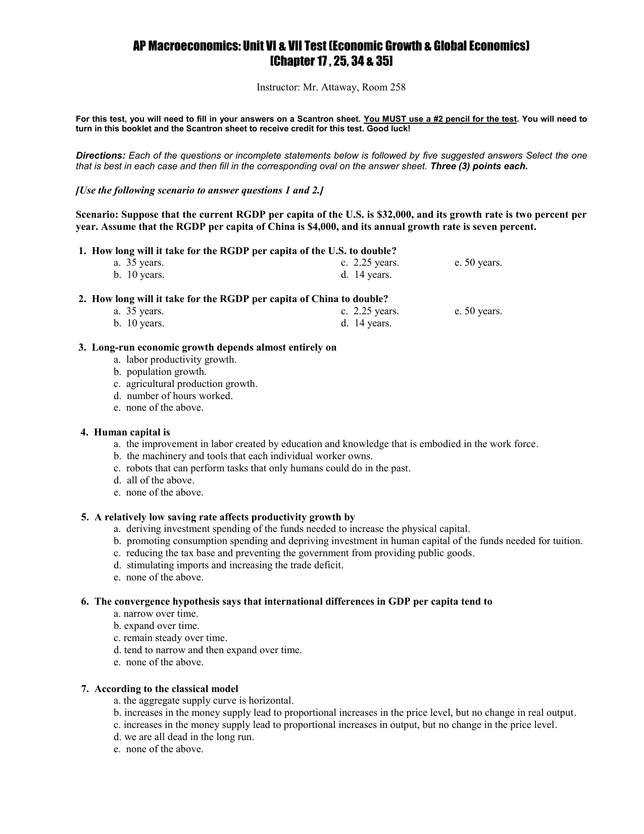 AP Macroeconomics: Unit V Test (Chapters 17-20)