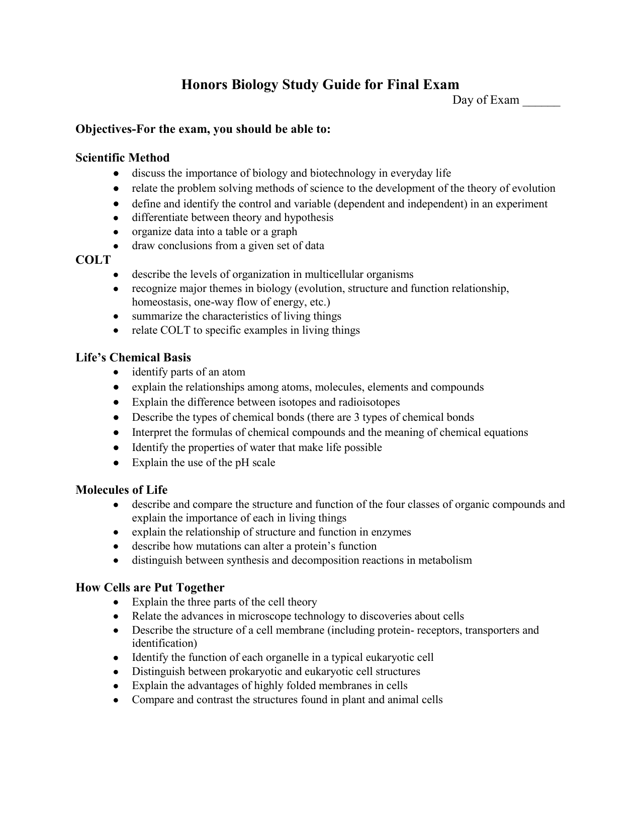 Honors Biology Study Guide for Final Exam