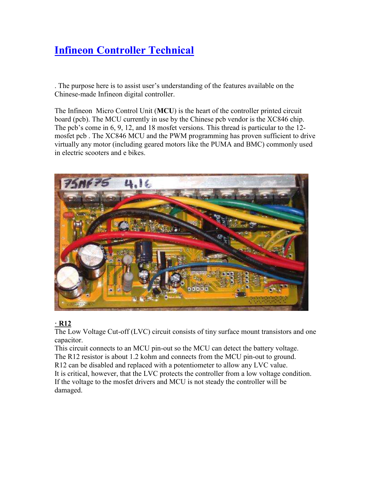 Infineon Controller Technical