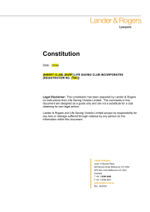 Template constitution for clubs