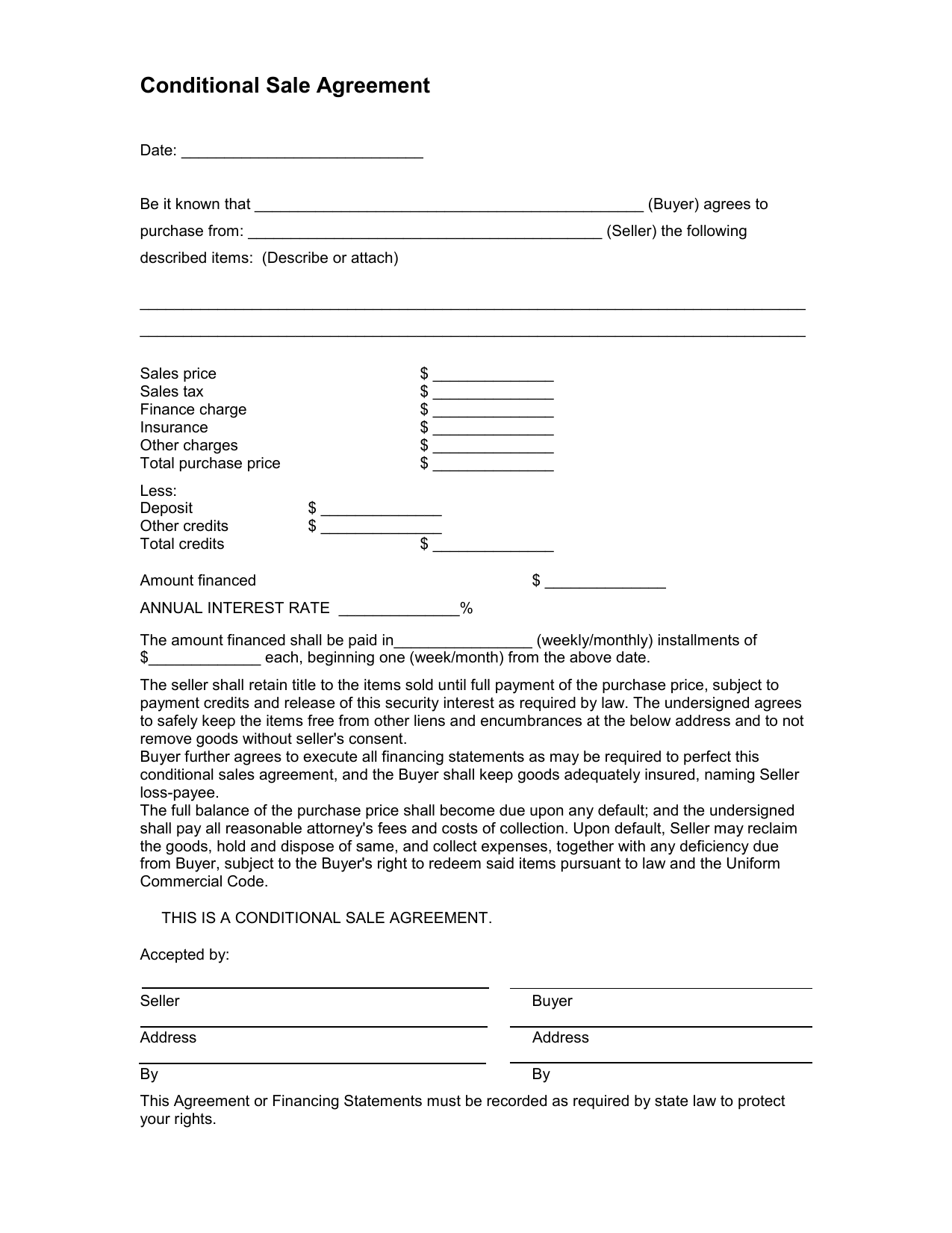 Conditional Sale Agreement