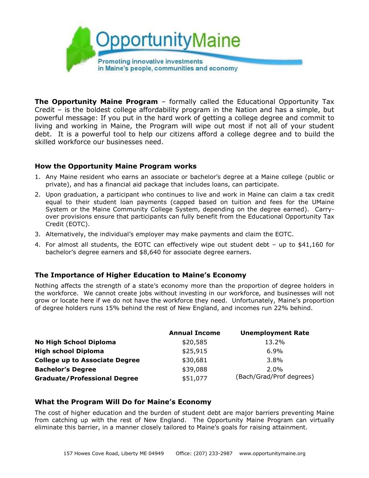 Opportunity Maine Program Summary