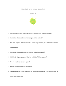 Study Guide For Immune System Test, Chapter 40