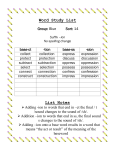 Word Study List - East Hanover Township School District