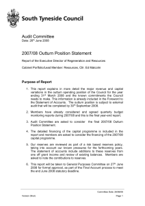 2007/08 Outturn Position Statement