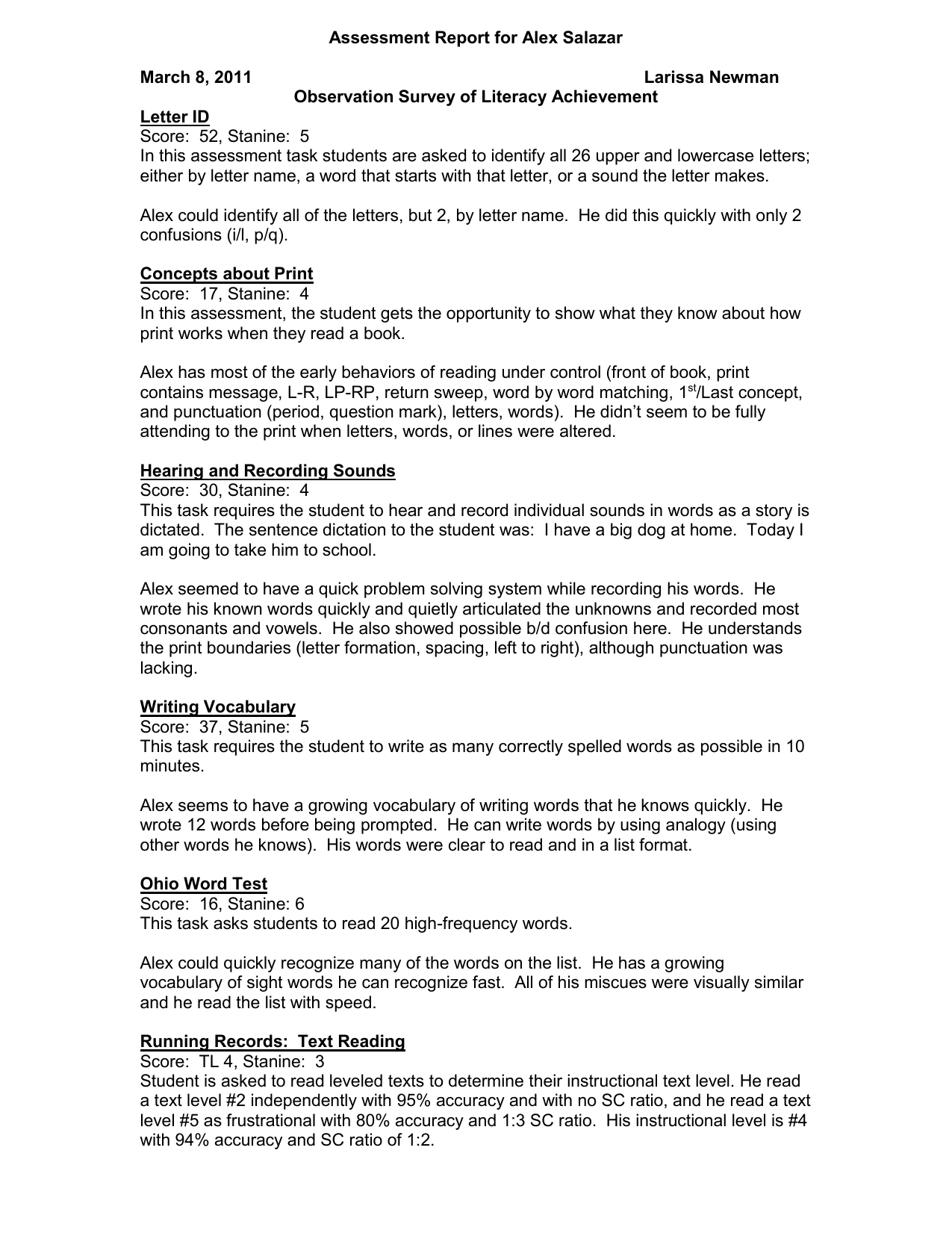 Assessment Report for Alex Salazar