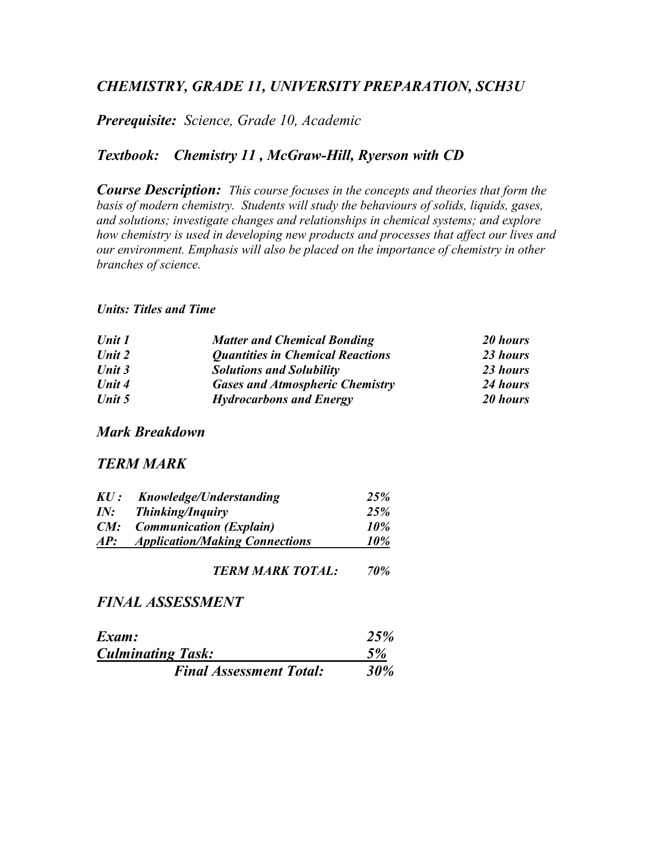 chemistry, grade 11, university preparation, sch3u