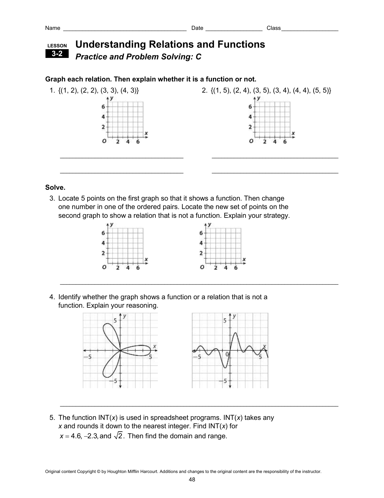 Domain and range worksheet 10 answer key