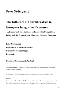 Peter Nedergaard: The Influence of Ordoliberalism in European