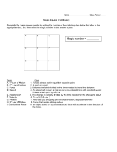 Magic Square Vocabulary Game Combinations