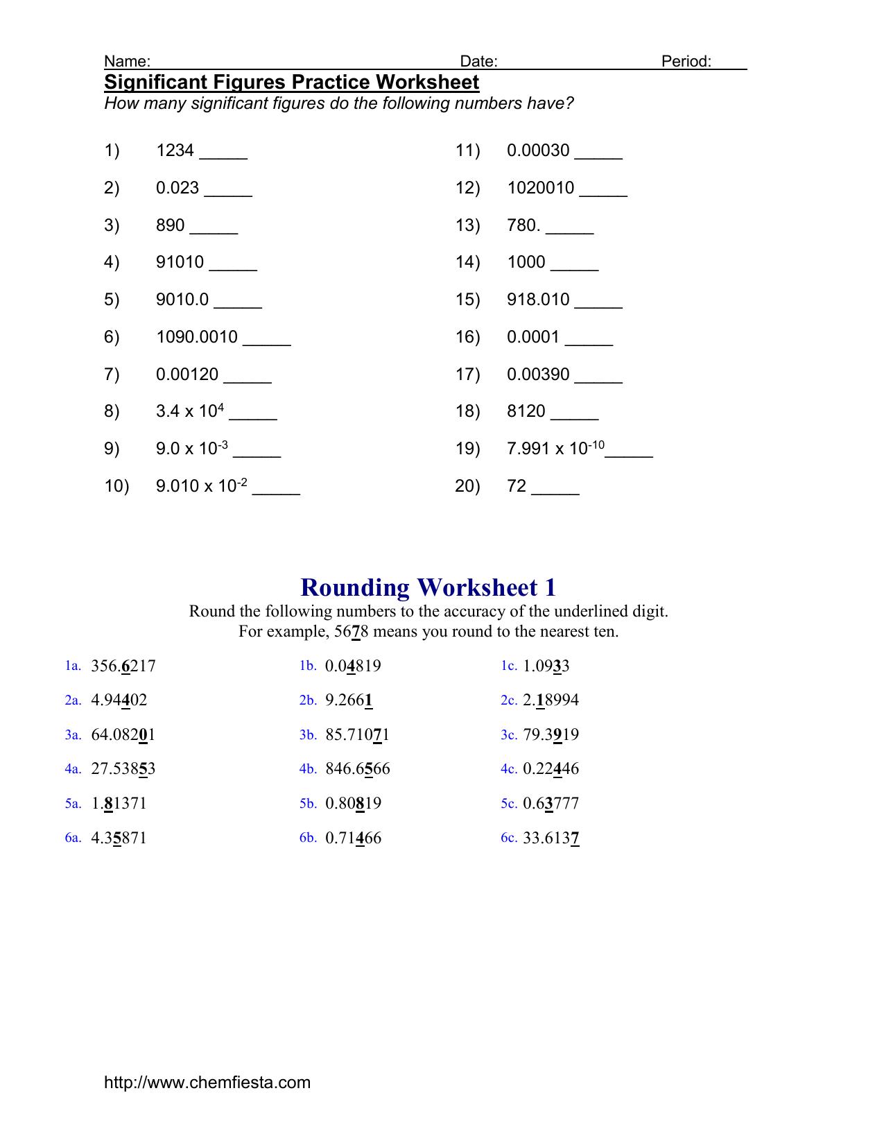 Significant Figures Practice Worksheet Intended For Significant Figures Worksheet Chemistry
