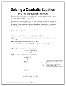 Solving a Quadratic Equation