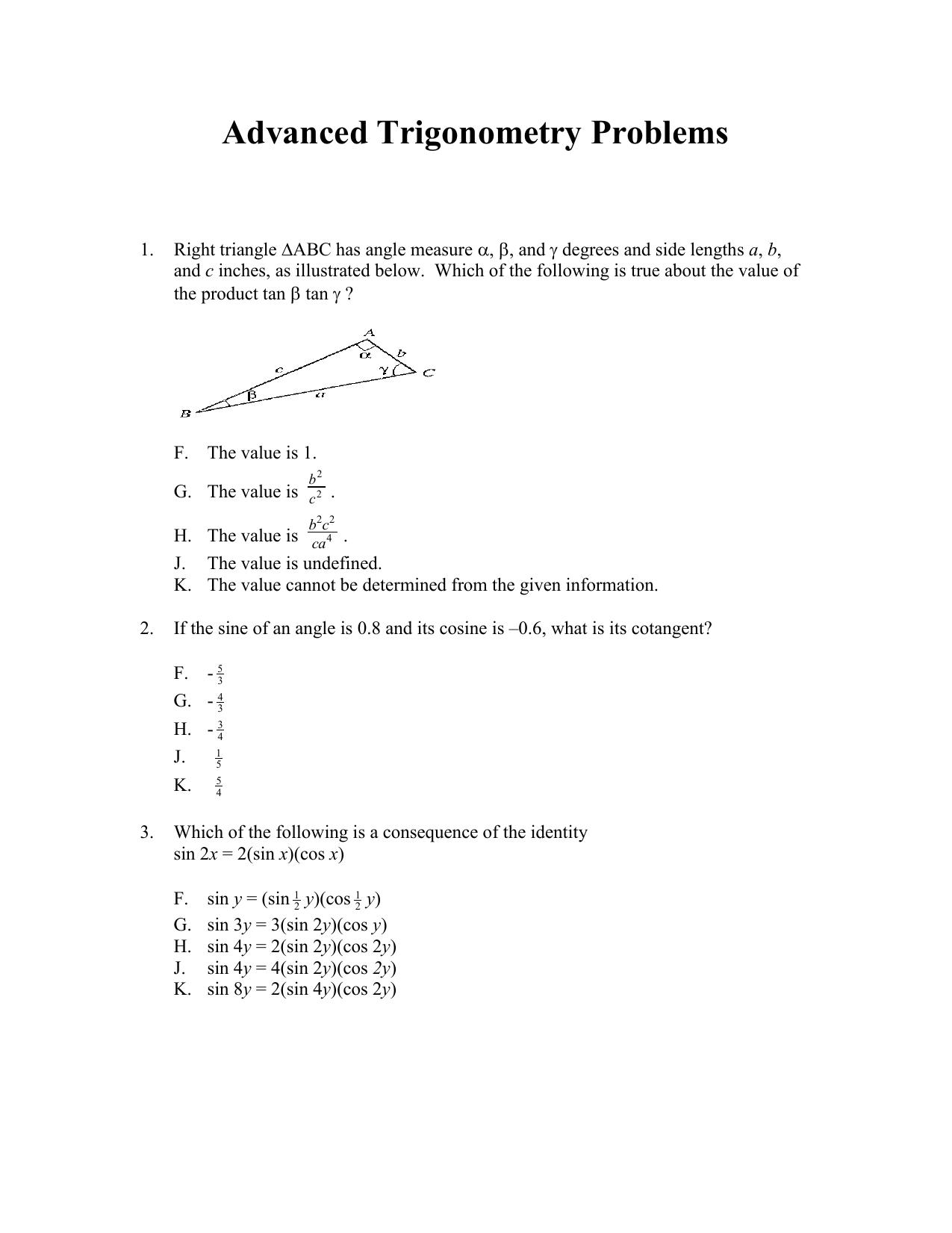 Advanced Trigonometry Problems